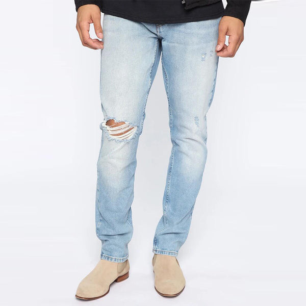 Men's ripped casual denim trousers