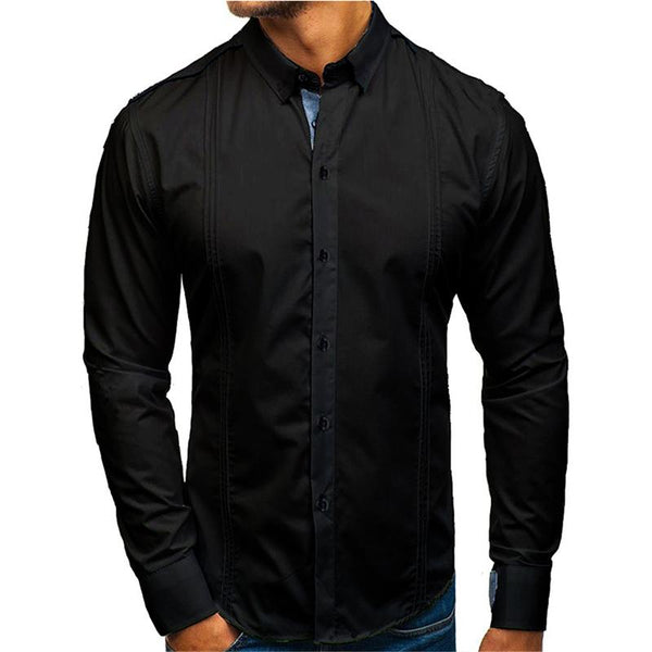 Men's color block casual work long sleeve shirt