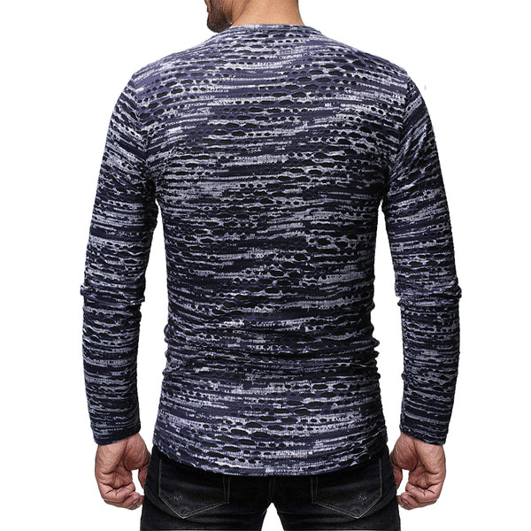 Men's Fashion Casual Hollow Slim Round Neck T-shirt