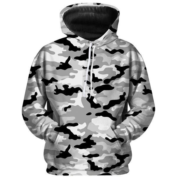 Men's fashion casual camouflage 3D digital printing hooded sweater