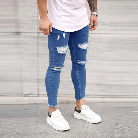 Men's plain ripped hole slim fit denim trousers
