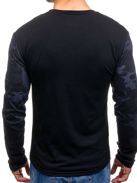 Mens casual camouflage gradient long-sleeved slim top