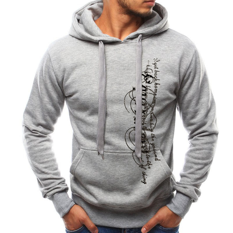 Men's Letters Printed Long-Sleeved Hooded Sweater