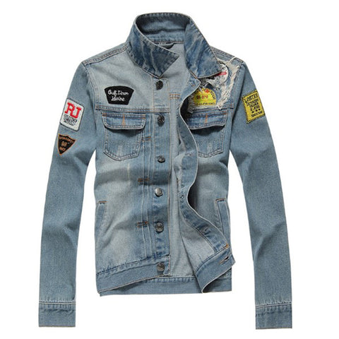 Men's Fashion Embroidered Denim Jacket