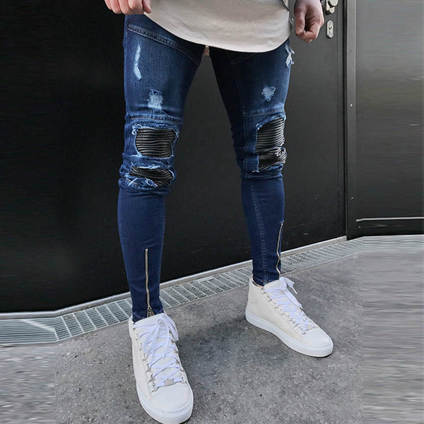 Mens new plain fashion trend ripped zipper jeans