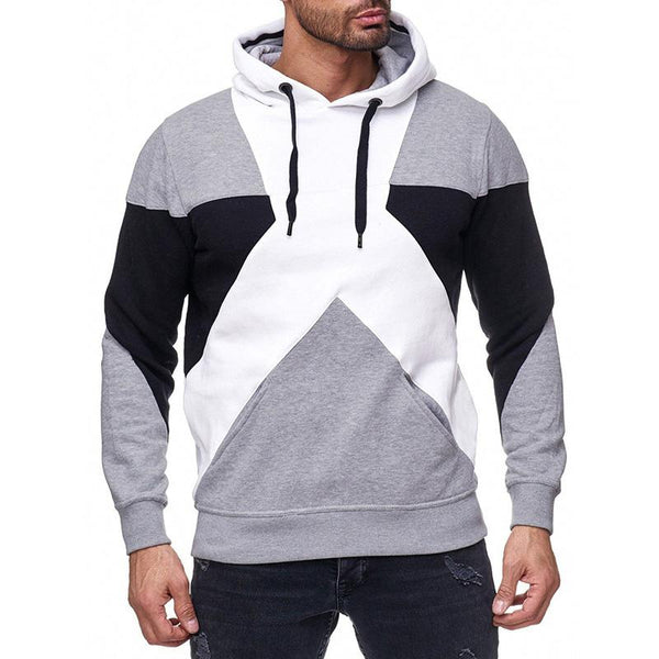 Men's fashion color block patchowrk hooded sweater