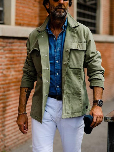Mens Fashion Chic Plain Jacket