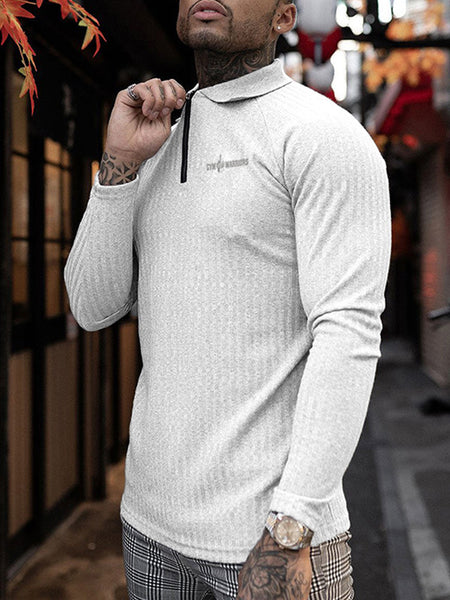 MENS LEISURE FITNESS SPORTS LONG-SLEEVED LAPEL POLO T-SHIRT