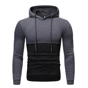 Men's fashion casual stitching fleece pullover sweater