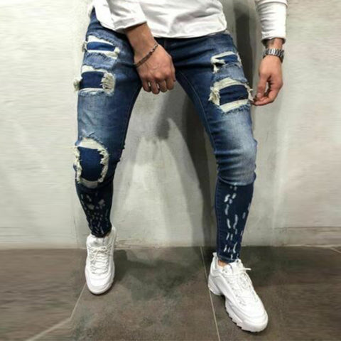 Men's Denim Ripped Trousers