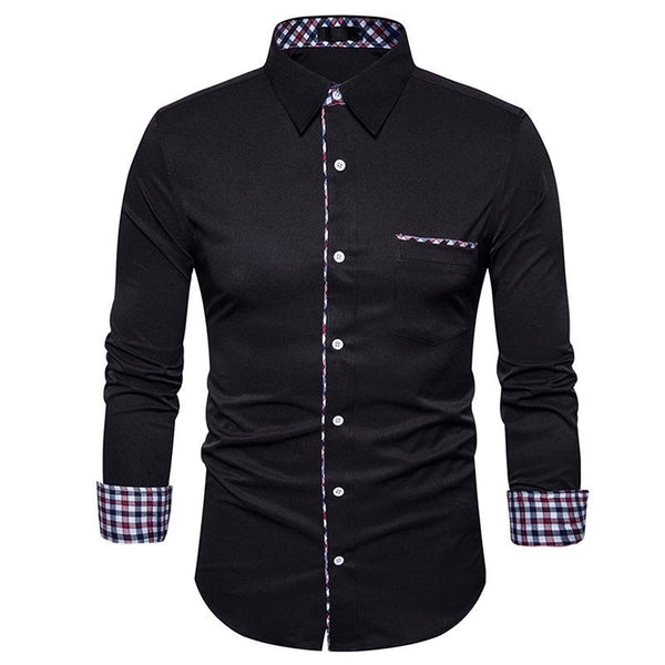Men's plaid patchwork long sleeve shirt