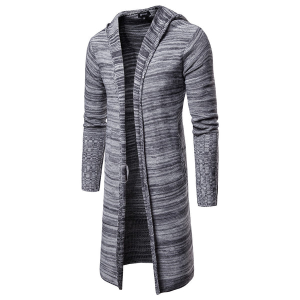 Men's casual snowflake hooded mid-length knitted cardigan
