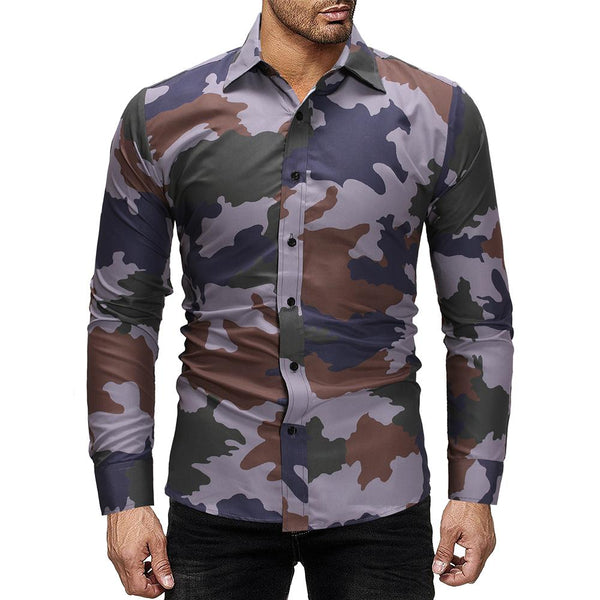 Men's new casual camouflage long sleeve shirt