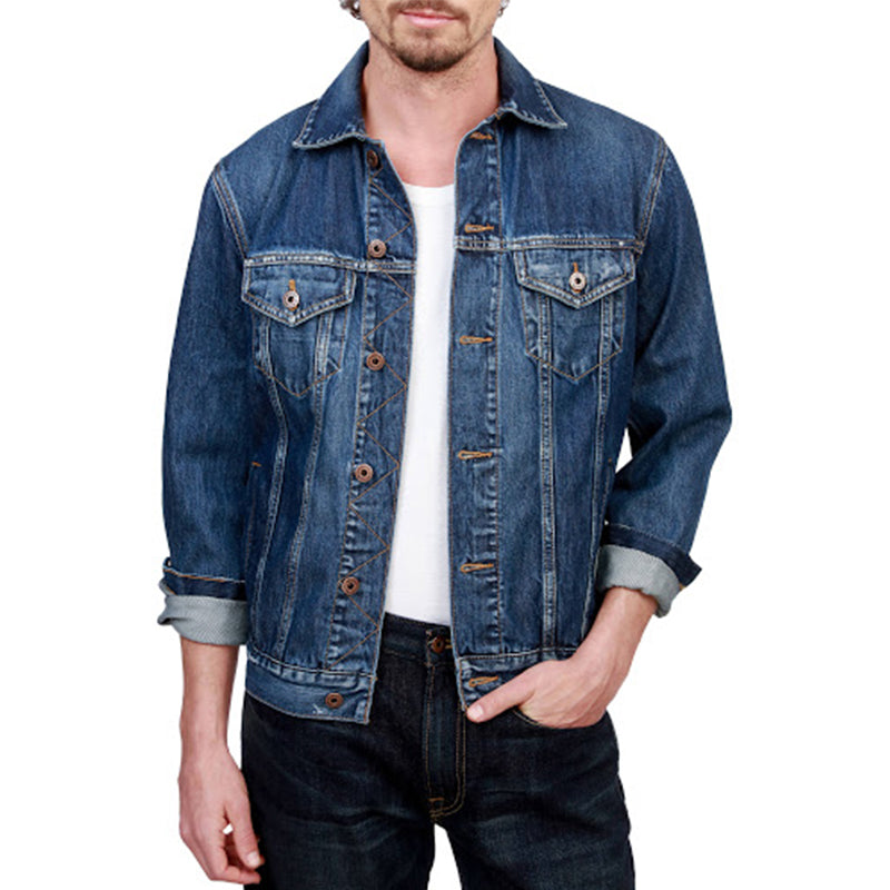 Men's fashion casual lapel denim jacket