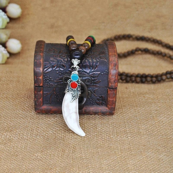 MEN'SCASE - Nepal Wooden Beads Horn Necklace