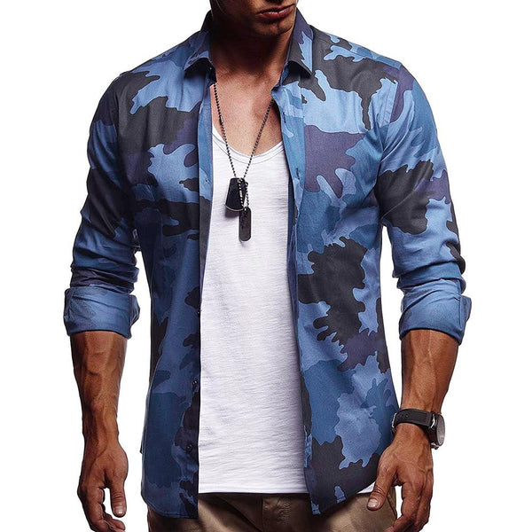 Mens new casual camouflage long sleeve shirt