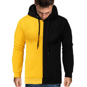 Men's knitted color block casual hooded