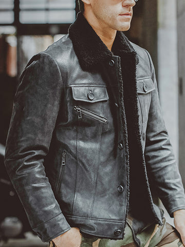 MenS Fashion Trend Fur Leather Motorcycle Leather Jacket