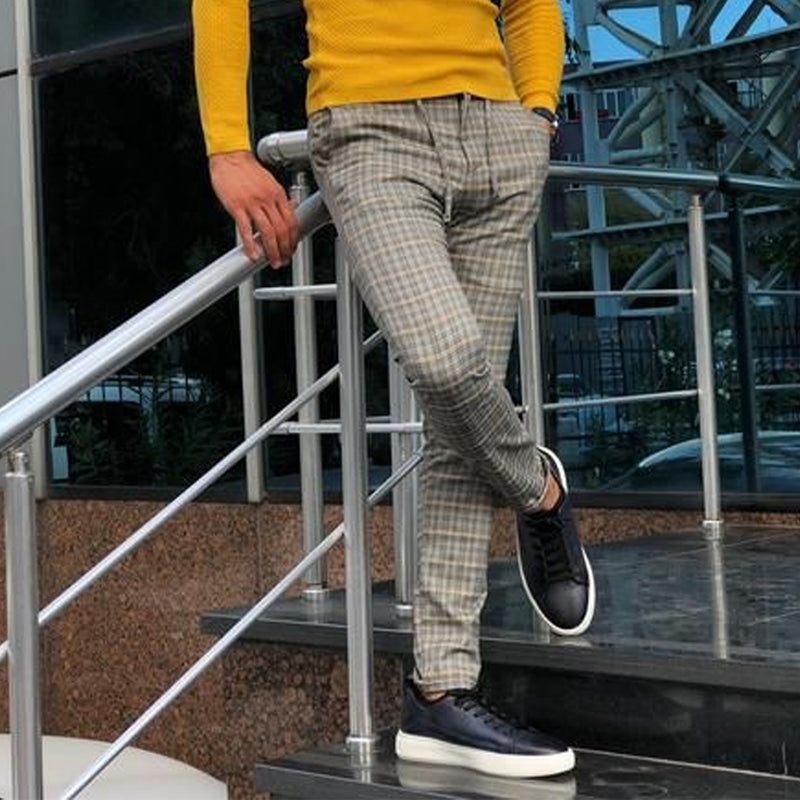 Men's business casual check slim trousers