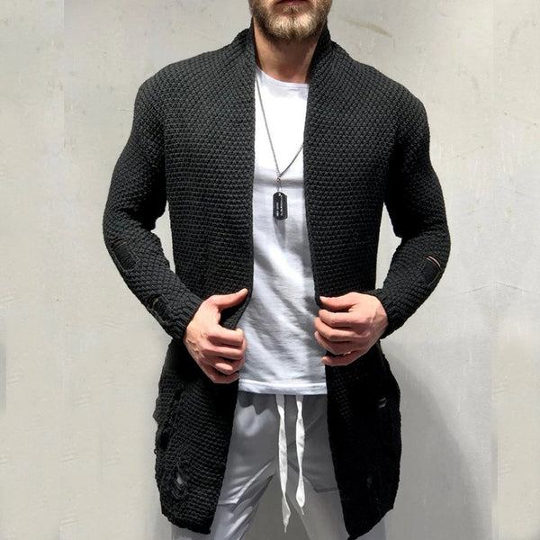 Men's fashion casual mid-length cardigan sweater