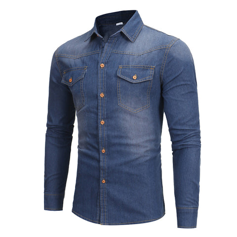 Men's England Long-Sleeved Denim Shirt Jacket
