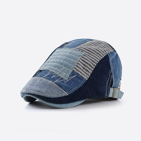 Men's casual personality stitching denim patch cap