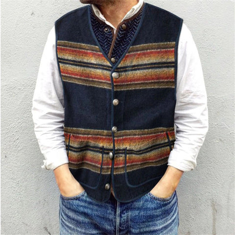 Men's Fashion Temperament Striped Sleeveless Printed Vest