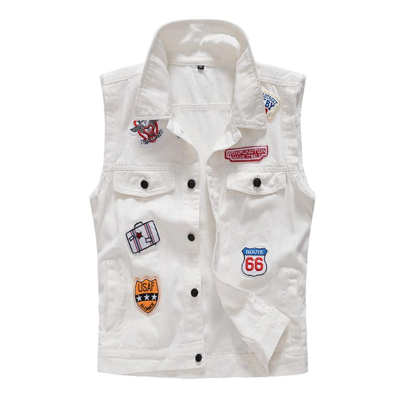 MANFLARE- Men's fashion casual personality labeling vest denim jacket