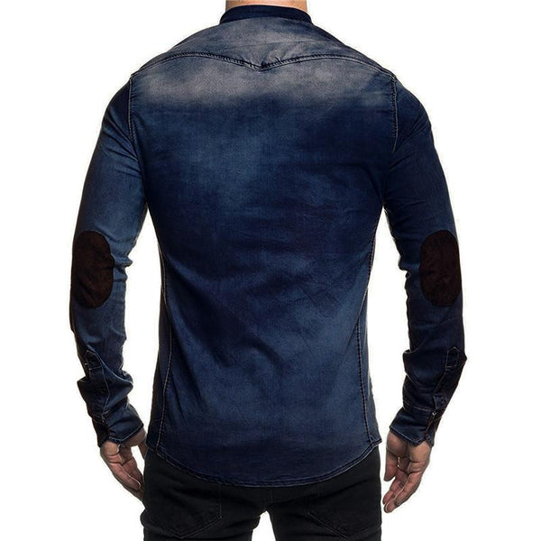 Mens fashion casual lapel single-breasted denim shirt