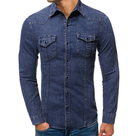 Mens plain fashion slim long sleeve denim shirt
