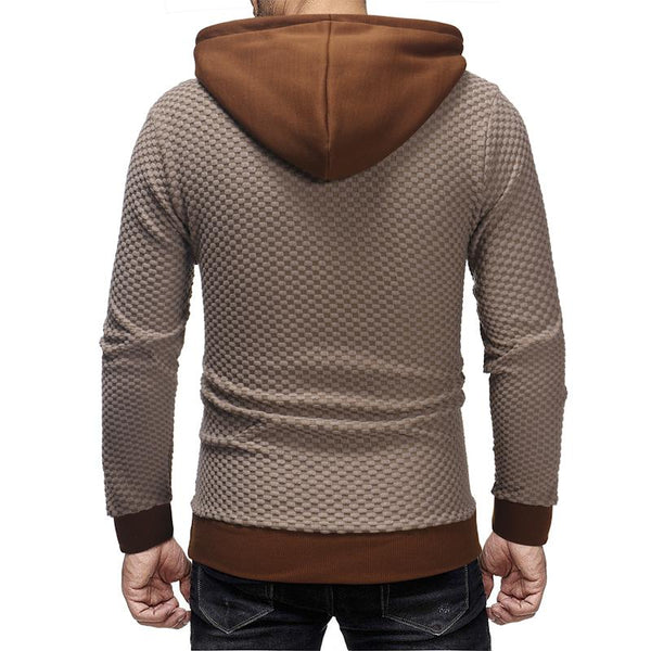 Mens fashion casual plaid pullover hooded long sleeve sweater