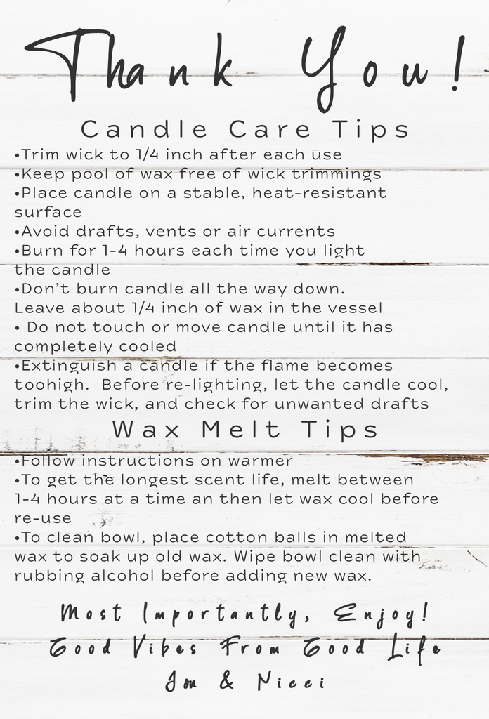 Candle Care Information