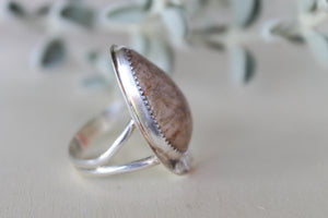 Fossilised Coral Ring - Size 9