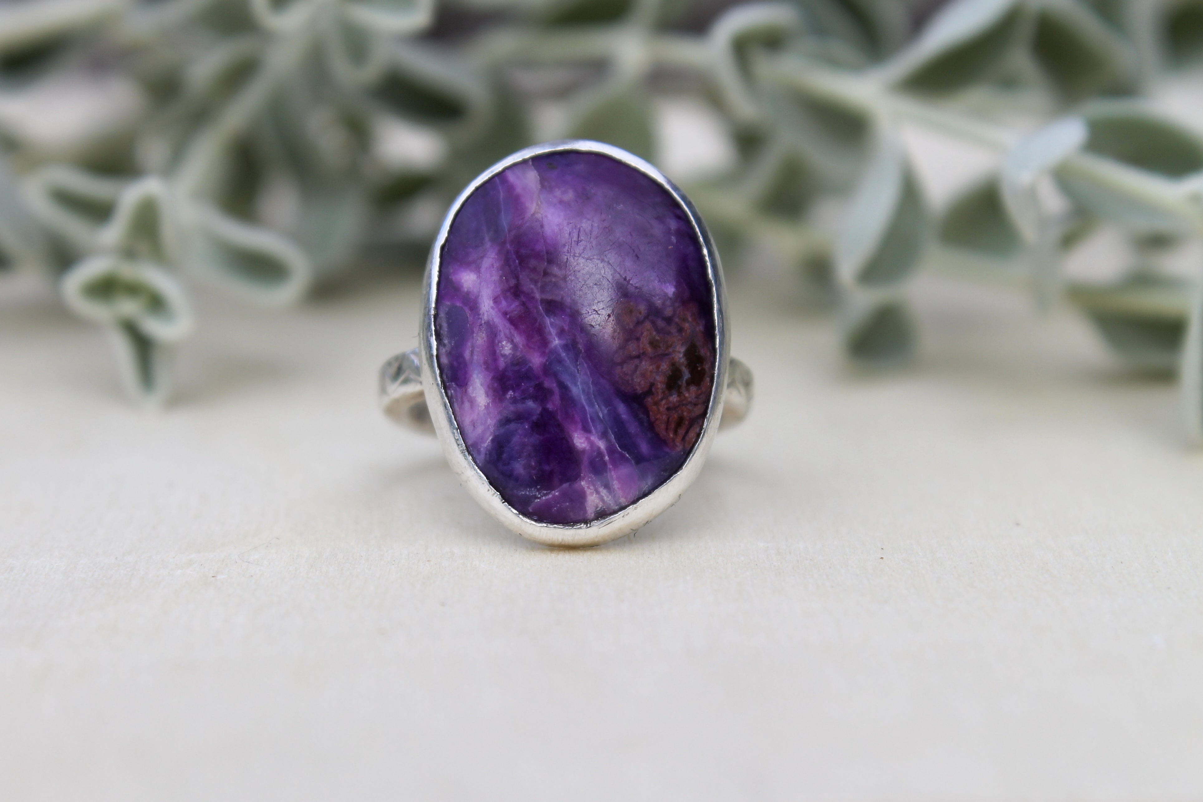 Sugilite Heart Ring - Size 7