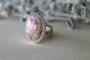 Oval Fossilised Coral Ring - Size 8.5