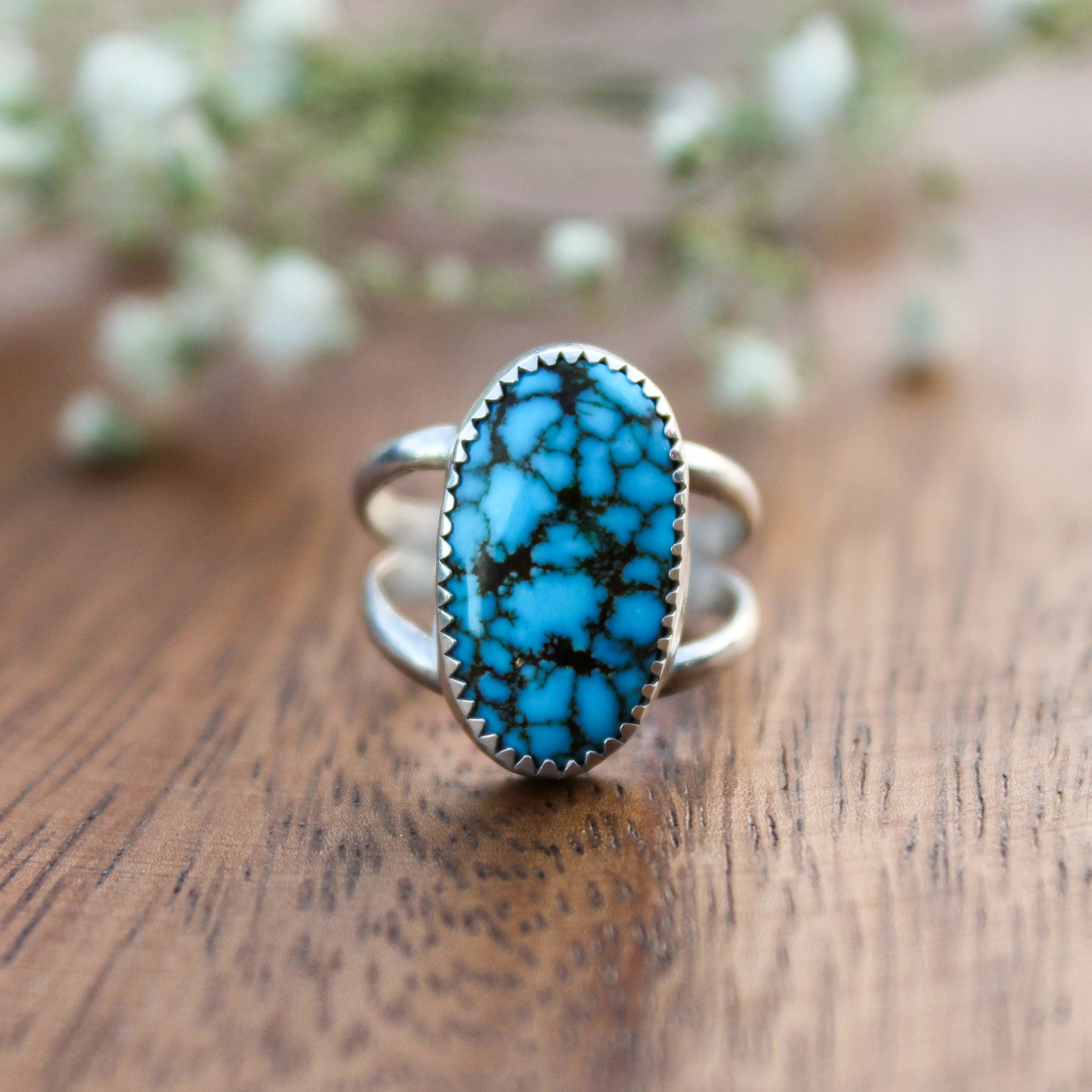 Kingman Turquoise Double Band Ring - Size 6
