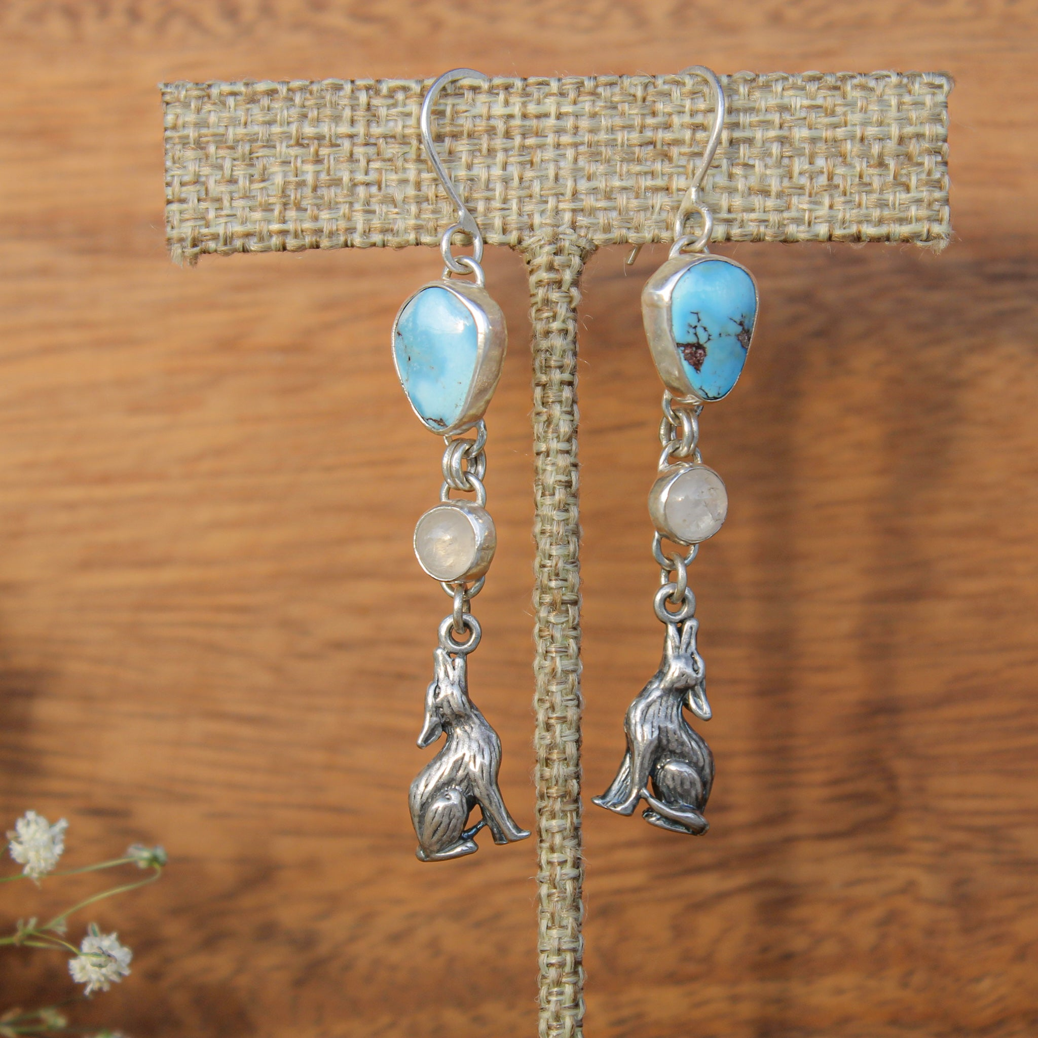 Golden Hill Turquoise and Rainbow Moonstone Coyote Earring