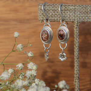 Fire Opal with Flower Charm Earring