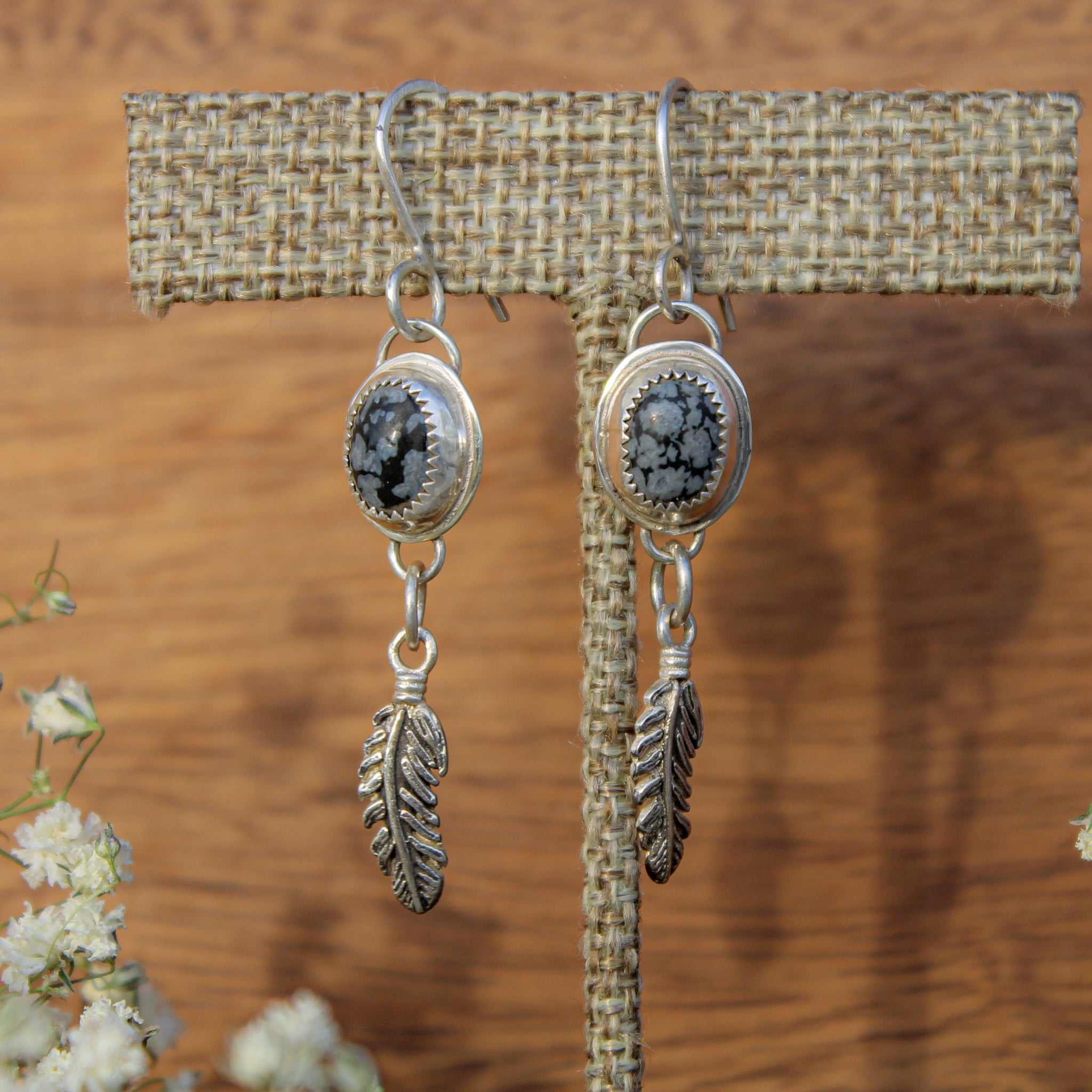 Snowflake Onyx and Feather Earring