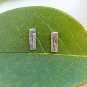 Hand Stamped Cactus Stud