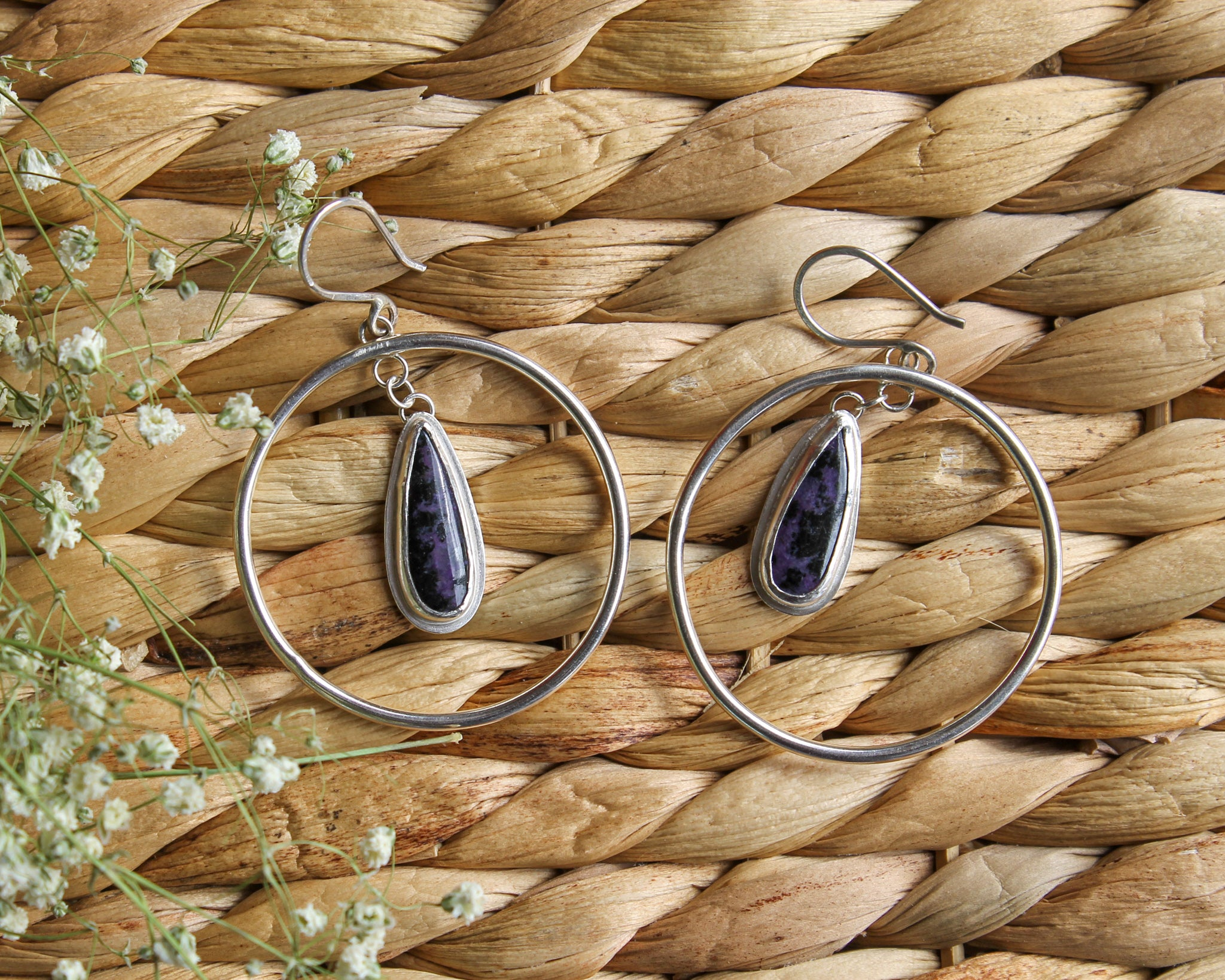 Charoite Hoop Earrings