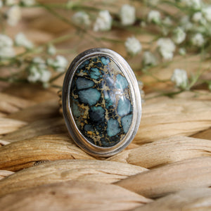 Blue Boy Turquoise Om Ring - Size 7.25