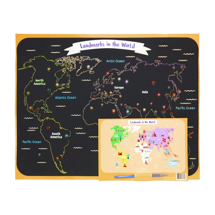 Colourful Kids DIY World Scratch Map, Gift-[ Projectgenz][Daretodreamshop]