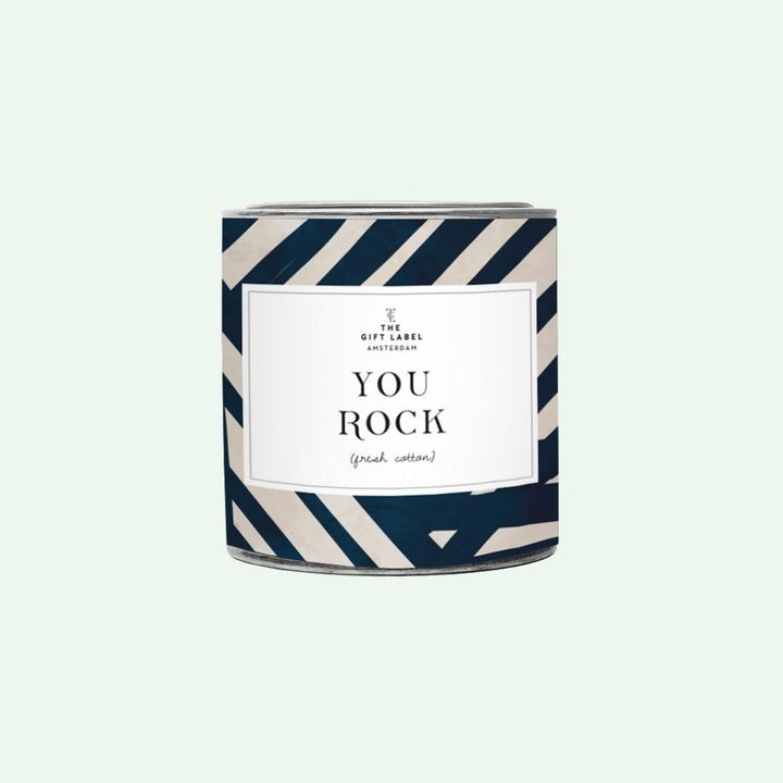You Rock stripe candle tin- 310g Fresh Cotton, Gift-[ Projectgenz][Daretodreamshop]