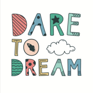 Dare to Dream BIG wall print white, Wall art-[ Projectgenz][Daretodreamshop]