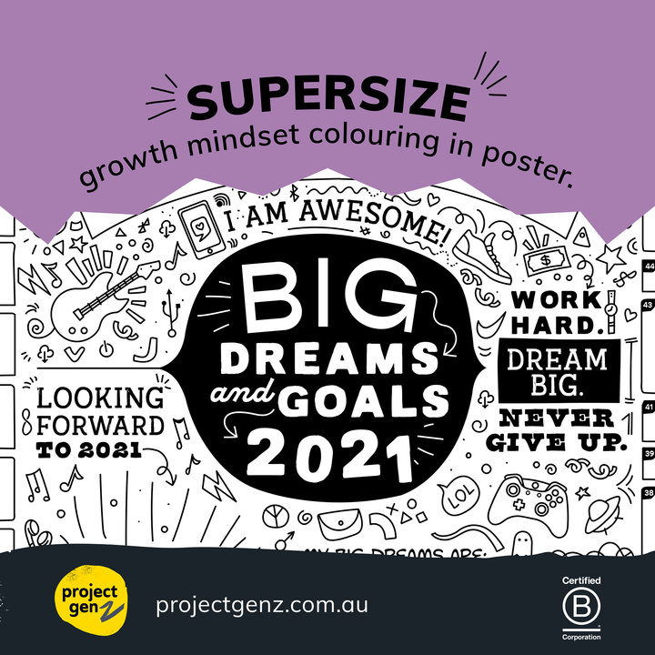 Supersize 2021 Goals & Dreams interactive poster, Planner-[ Projectgenz][Daretodreamshop]