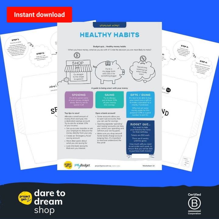 Freebie- Healthy money habits activity sheet - Daretodreamshop