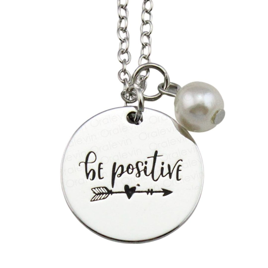 Be positive silver Necklace, Jewellery-[ Projectgenz][Daretodreamshop]