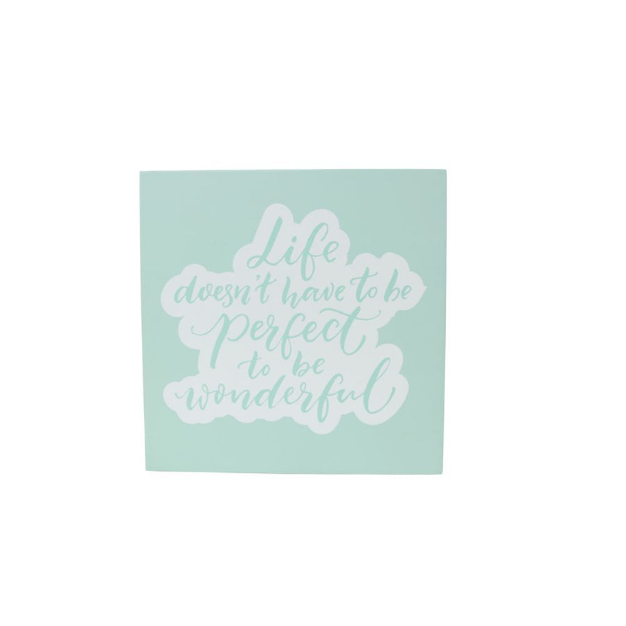 'Life doesn't have to be perfect to be wonderful' wooden quote, Gift-[ Projectgenz][Daretodreamshop]