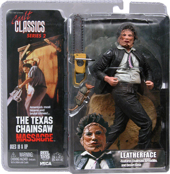 "LEATHERFACE from TEXAS CHAINSAW MASSACRE 7"" Figure CULT CLASSICS Series 2 Movie NECA REEL TOYS (Sub-Standard Packaging)"